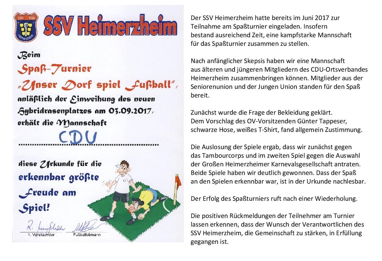 Teilnahme am Spaßturnier des SSV Heimerzheim