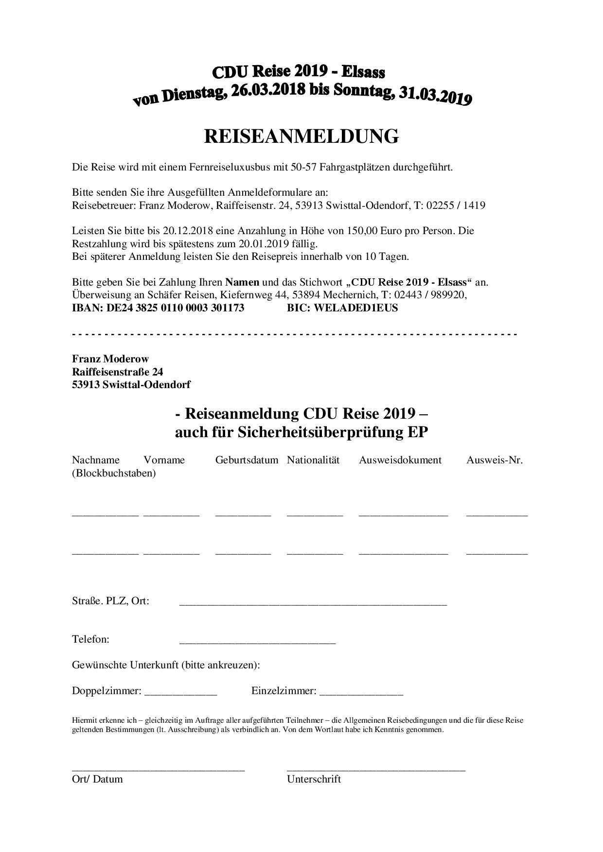 Reiseanmeldung - CDU-Reise 2019 in den Elsass