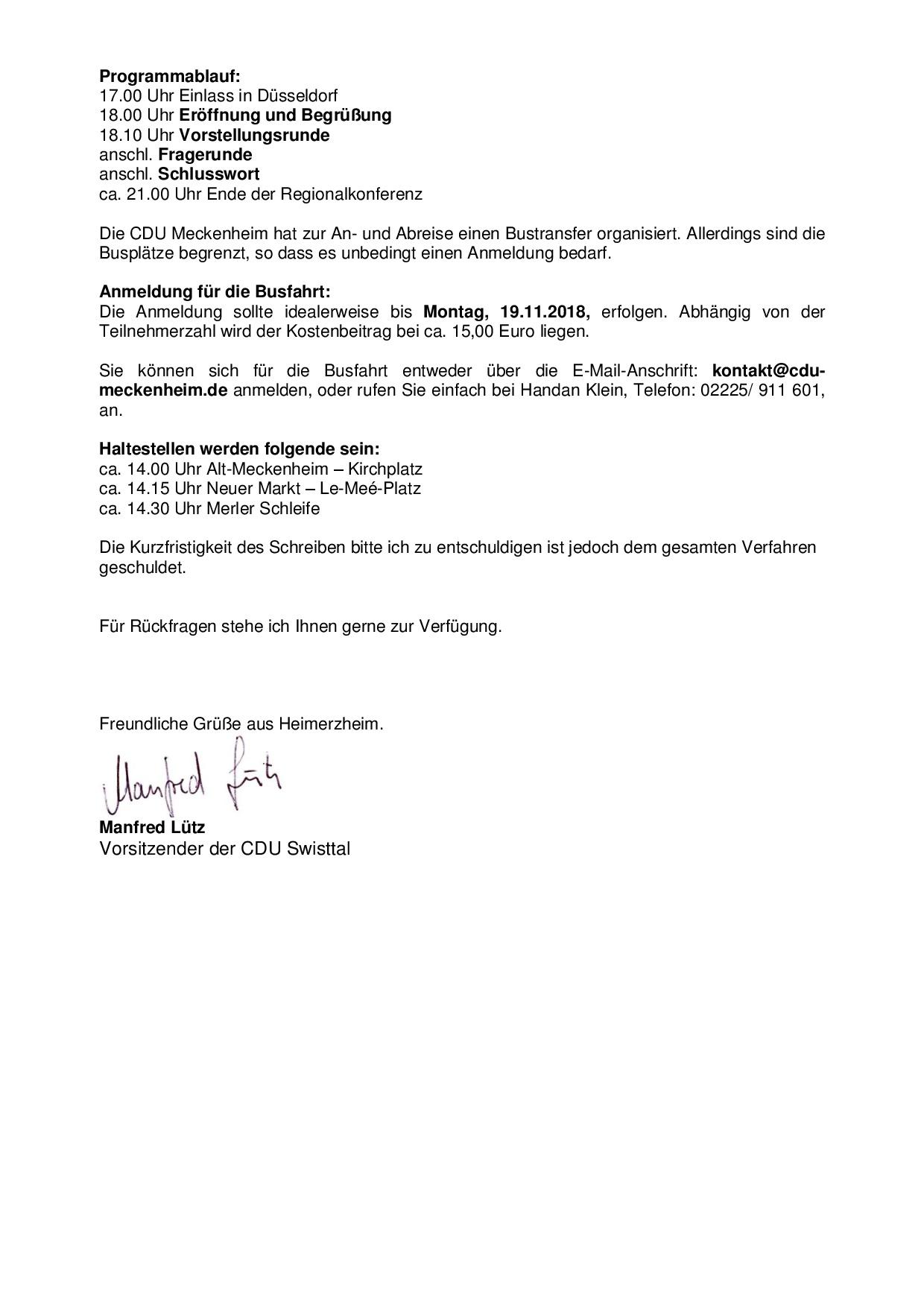 Anmeldung Zur Regionalkonferenz Am 281118 In Düsseldorf Cdu