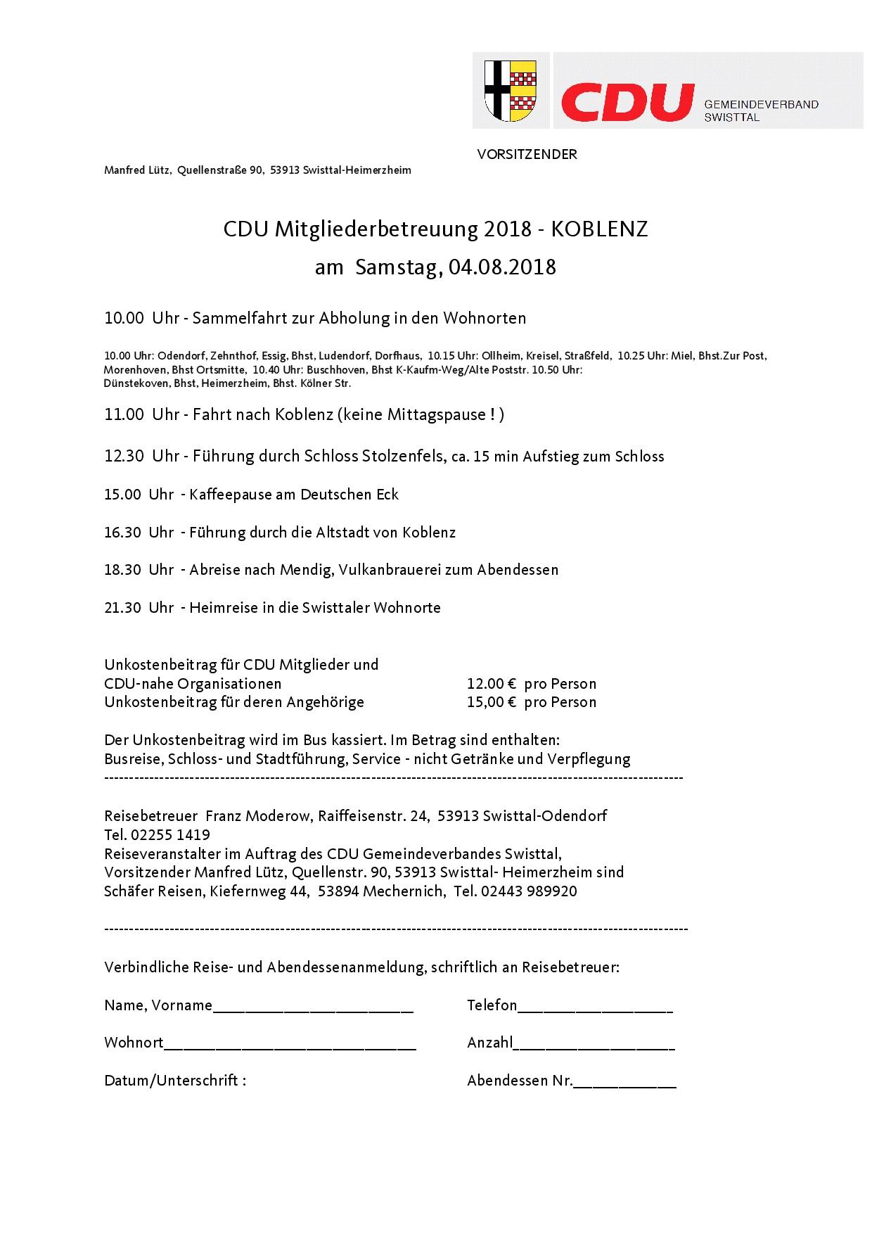 Mitgliederreise nach Koblenz 2018
