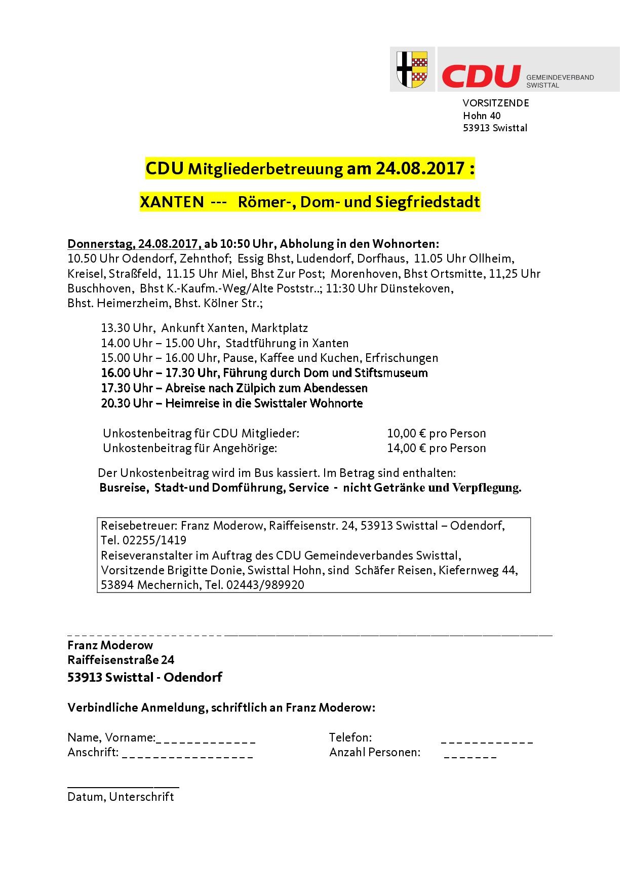 CDU-Reise nach Xanten