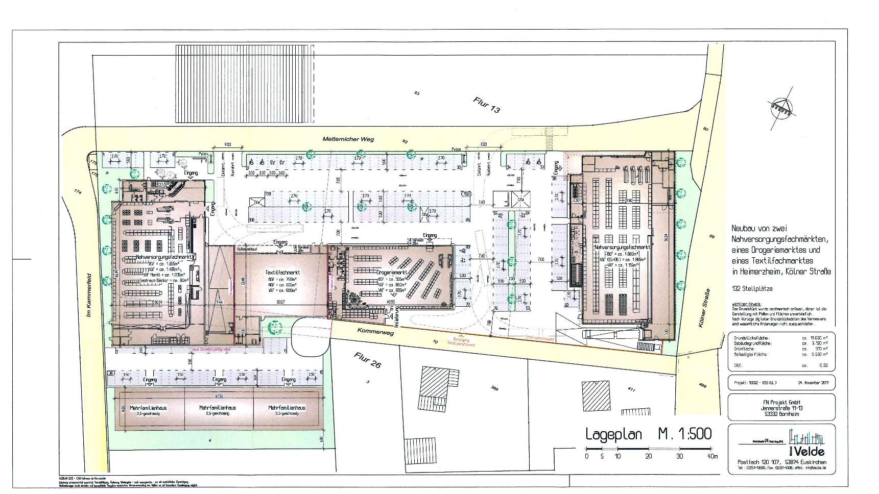 Entwurf - Lageplan zum Neubau von zwei Nahversorgungsfachmärkten...