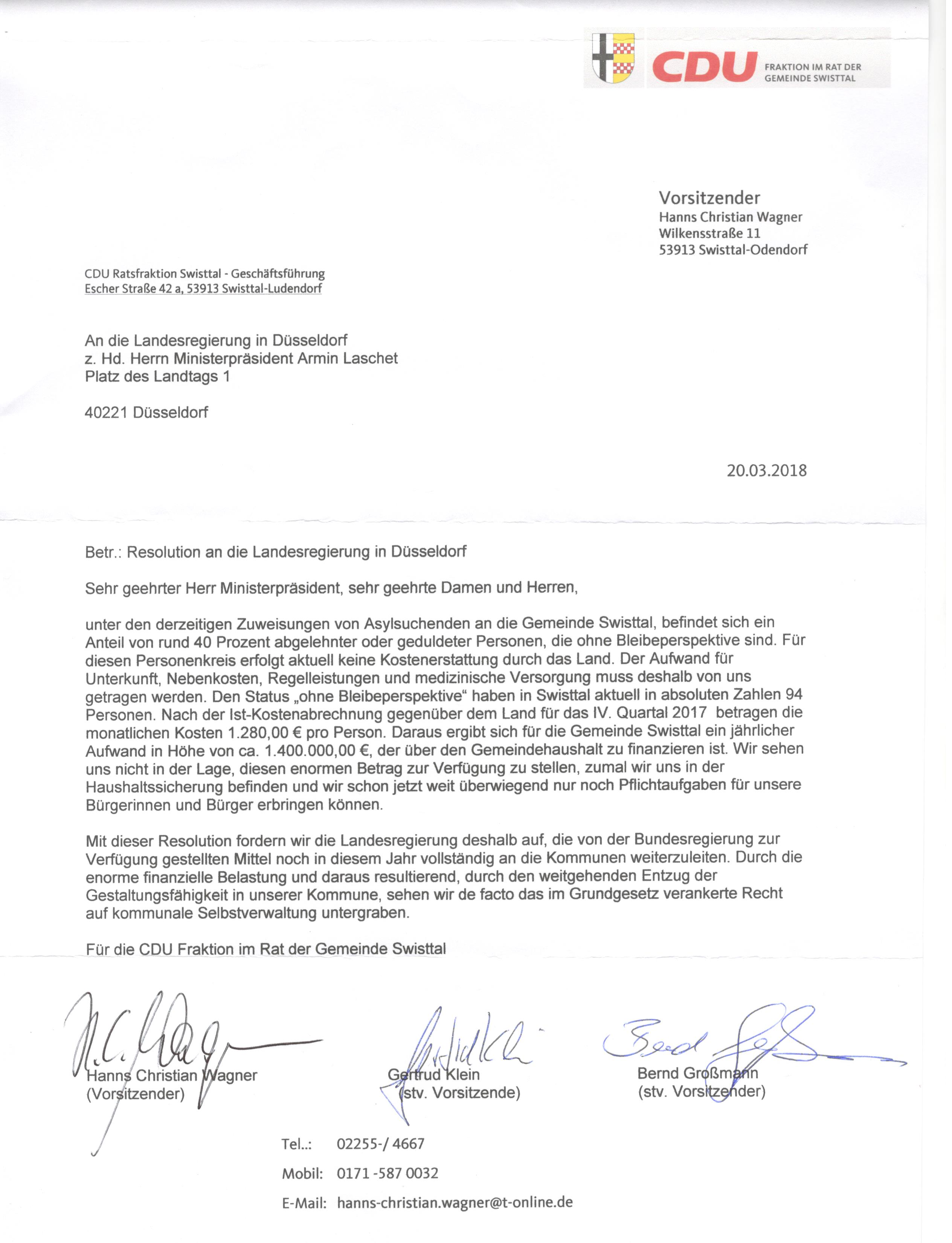 Resolution an die Landesregierung in Düsseldorf
