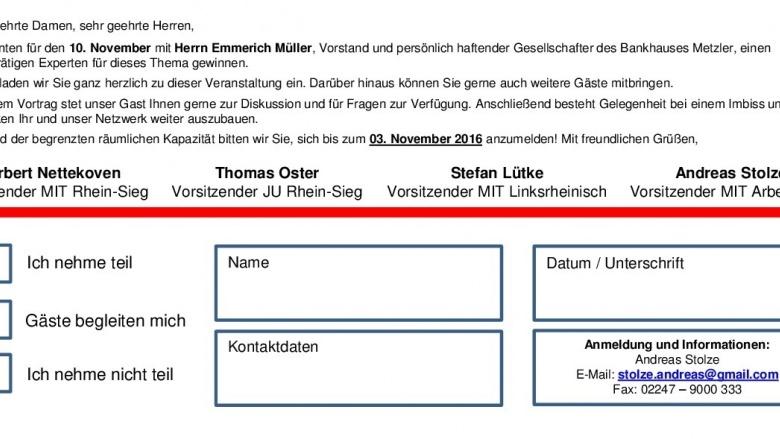 Einladung zu den Rhein-Sieg-Gesprächen