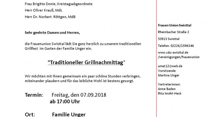 Einladung zum traditionellen Grillfest am 07.09.2018
