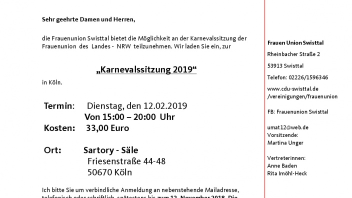 Einladung zur Karnevalssitzung 2019 - Satory-Säle