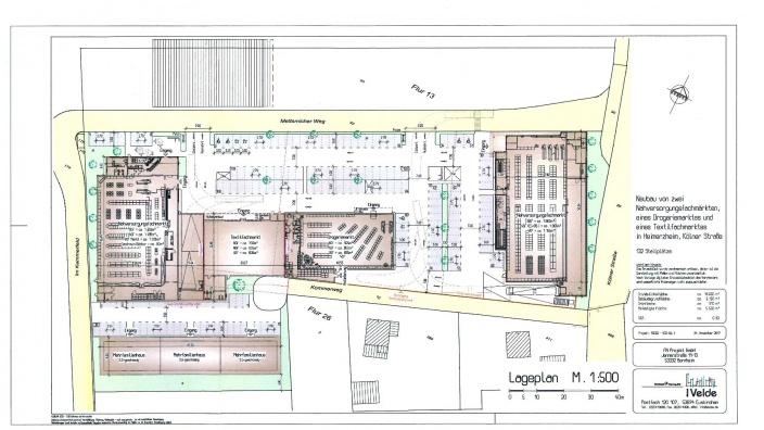 Lageplan - Entwurf zum Neubau von zwei Nahversorgungsfachmärkten...