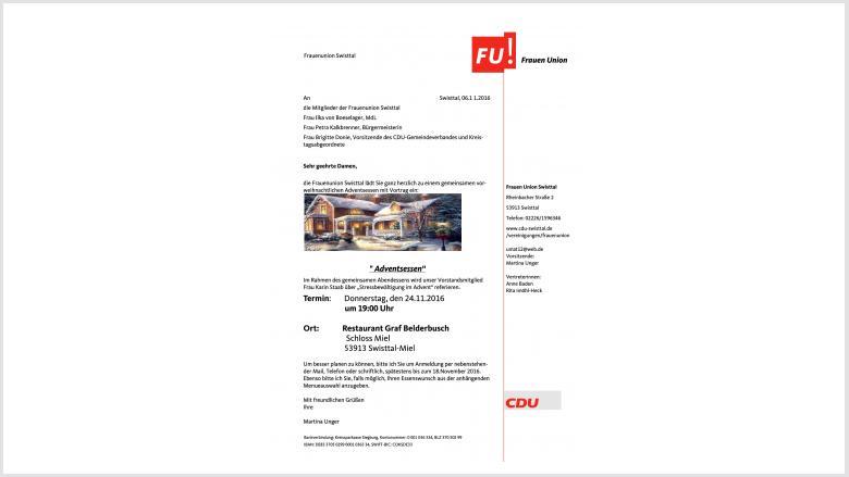 Einladung der FU zum Adventsessen