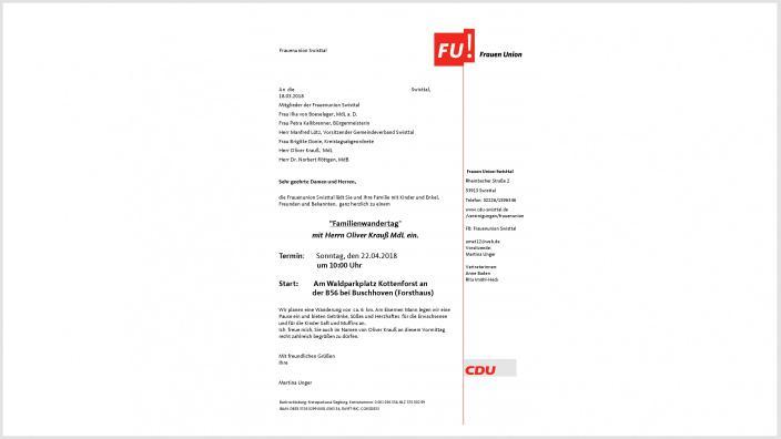 Einladung der Frauenunion Swisttal zum Familienwandertag mit Oliver Krauß, MdL