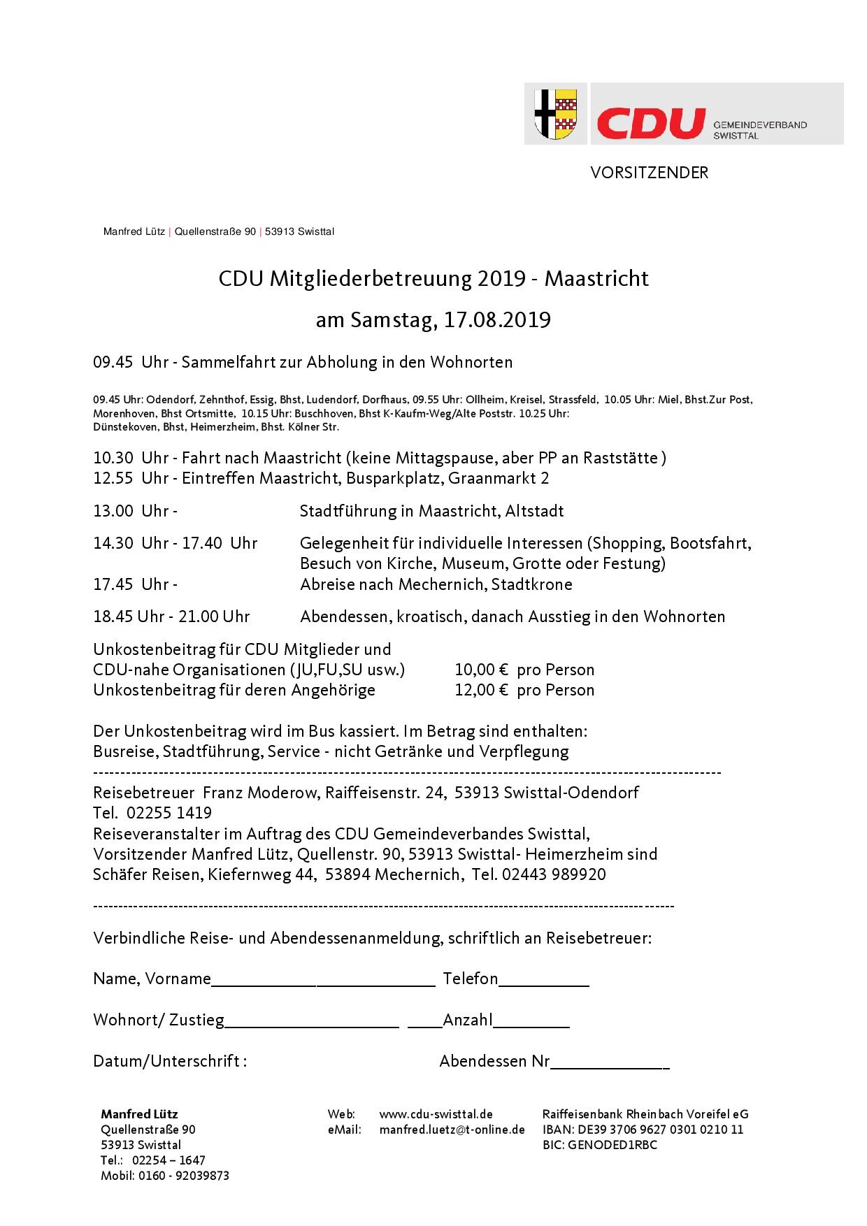 Einladung zum Tagesausflug nach Maastricht