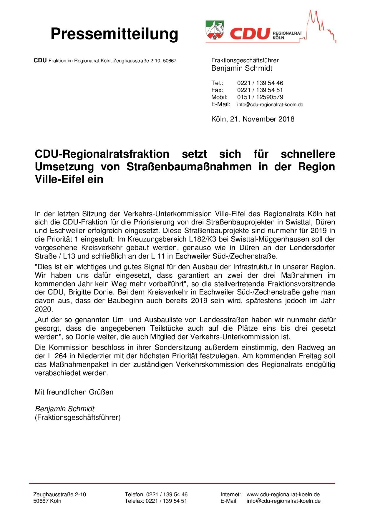 Pressemeldung der CDU-Regionalratsfraktion